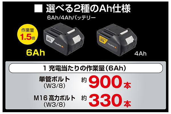 選べる2種のAh仕様(6Ah/4Aバッテリー)