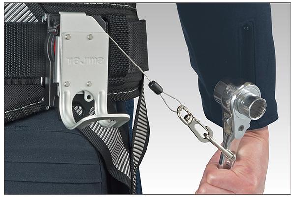 高所作業用工具落下防止ワイヤー内蔵タイプ